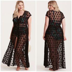 Torrid Floral Lace Crochet Maxi Swim Coverup Dress